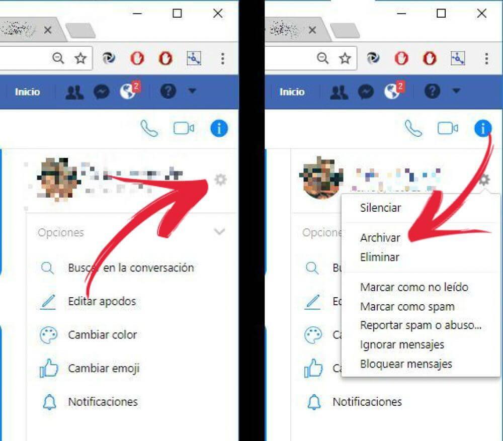 archivar conversación en Facebook Messenger