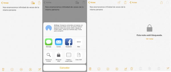 Bloquear notas en iPhone