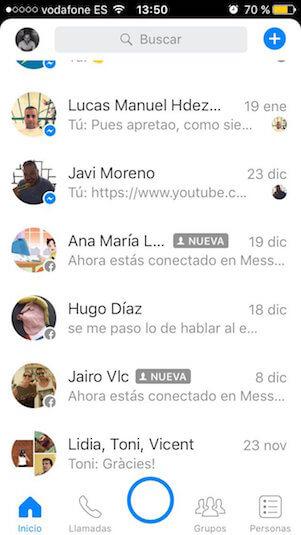 buscar historial de Facebook Messenger