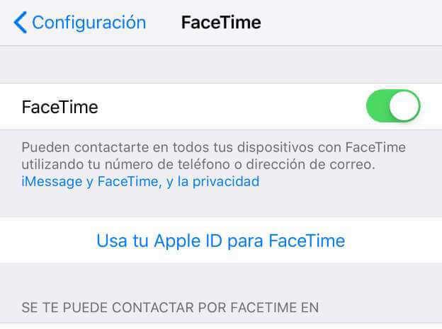 desactivar Apple ID en FaceTime iPhone