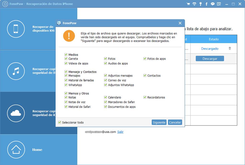 Elegir tipo de archivo de iCloud