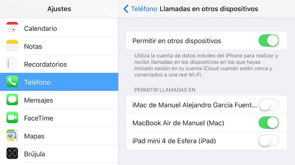 llamadas en otros dispositivos en iPhone