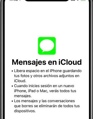 sincronizar mensajes en la función de iCloud