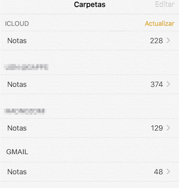 pasar notas de iPhone a Android con Gmail