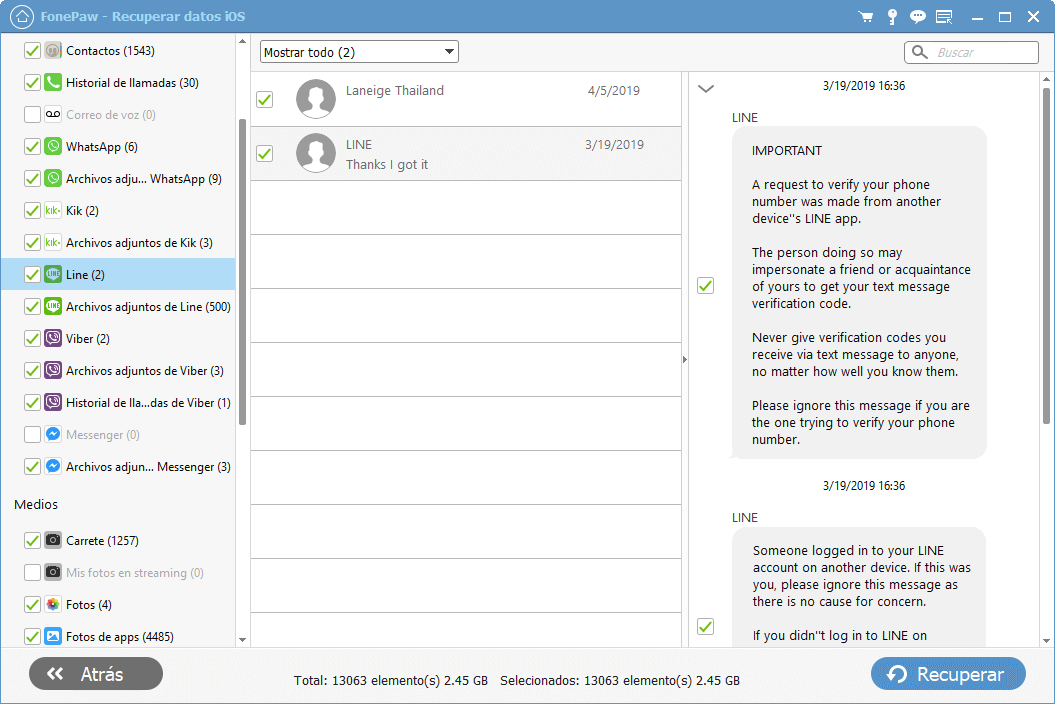 Recuperar conversaciones de Line