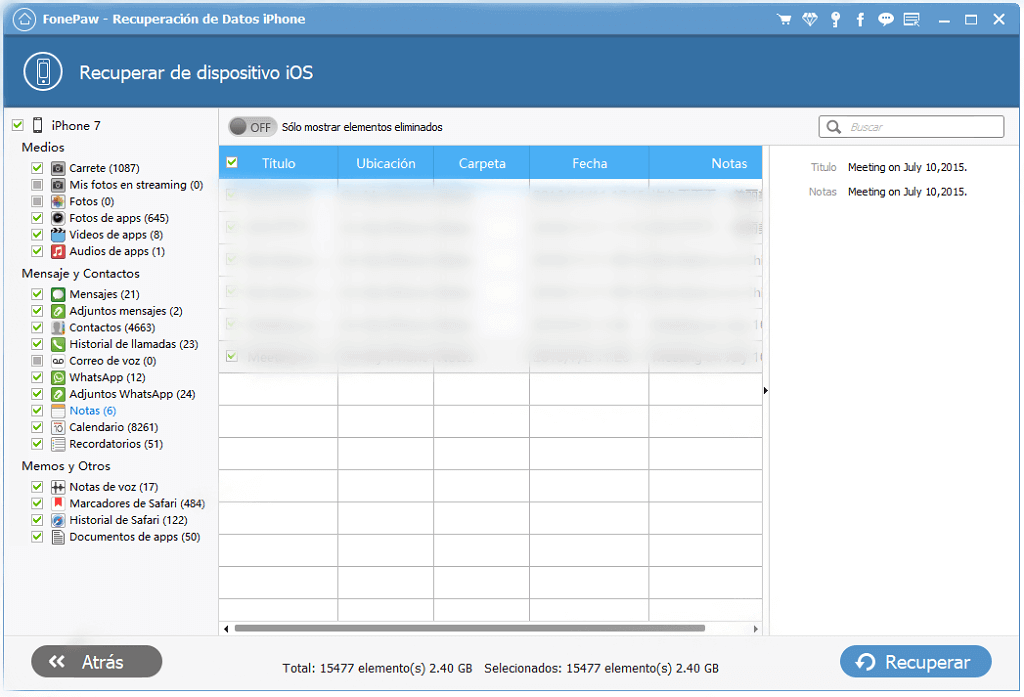 exportar notas de iPhone