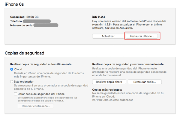 restaurar iphone itunes