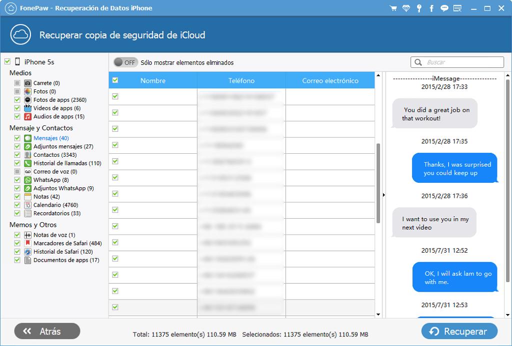 Resultado mensajes iCloud
