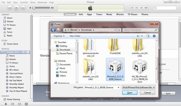 Seleccionar archivo firmware IPSW
