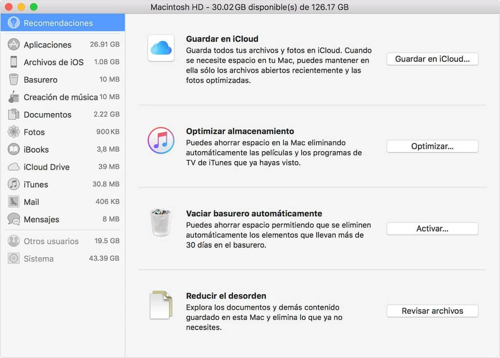 administrar almacenamiento de Mac