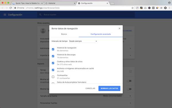 Borrar historial de Chrome
