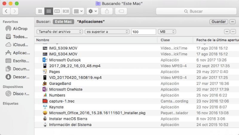 buscar archivos grandes en carpetas en Mac
