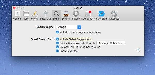deseleccionar las sugerencias de buscador para optimizar safari