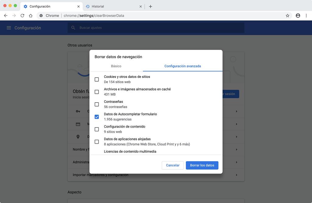 borrar los datos de navegación Chrome