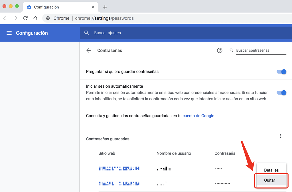 gestionar autocompletar de Chrome