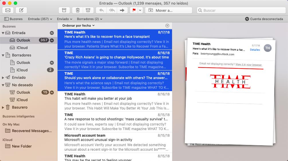 contenido de Mail Mac