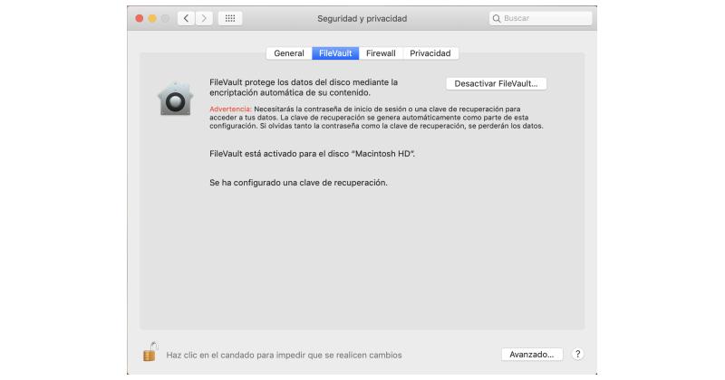 desacitvar FileVault en Mac
