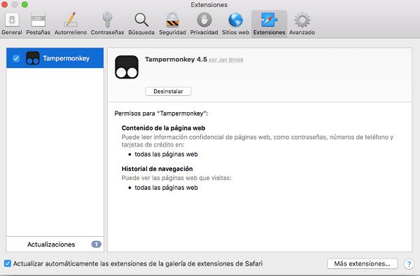 desinstalar extensiones de Safari