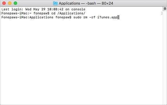 desinstalar iTunes con Terminal