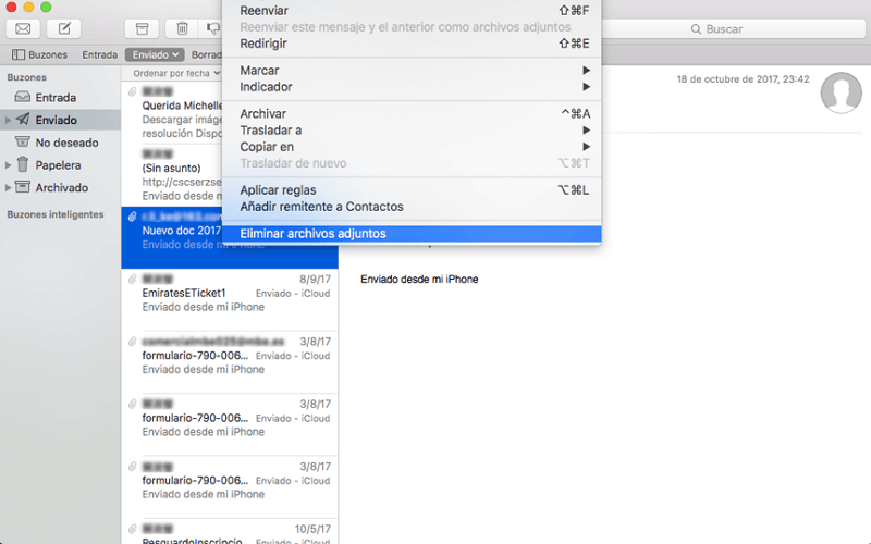 eliminar archivos adjuntos en Mac