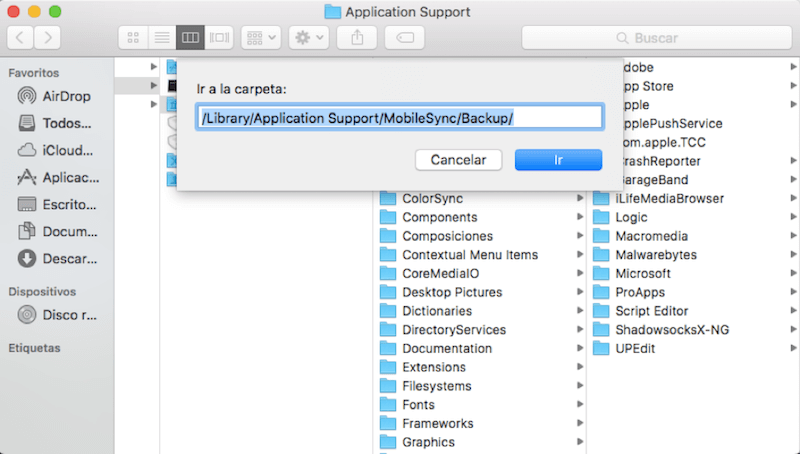 eliminar copias y actualización antigua de dispositivos iOS en Mac