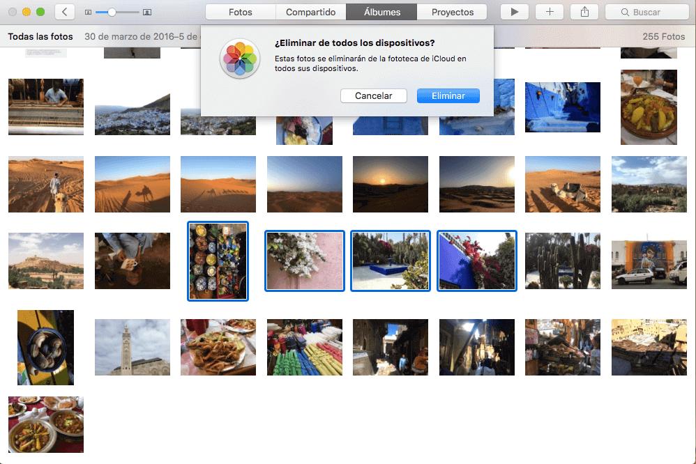 eliminar fotos de todos los dispositivos