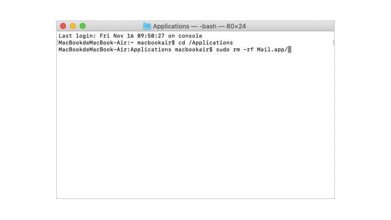 eliminar Mail en Mac con Terminal