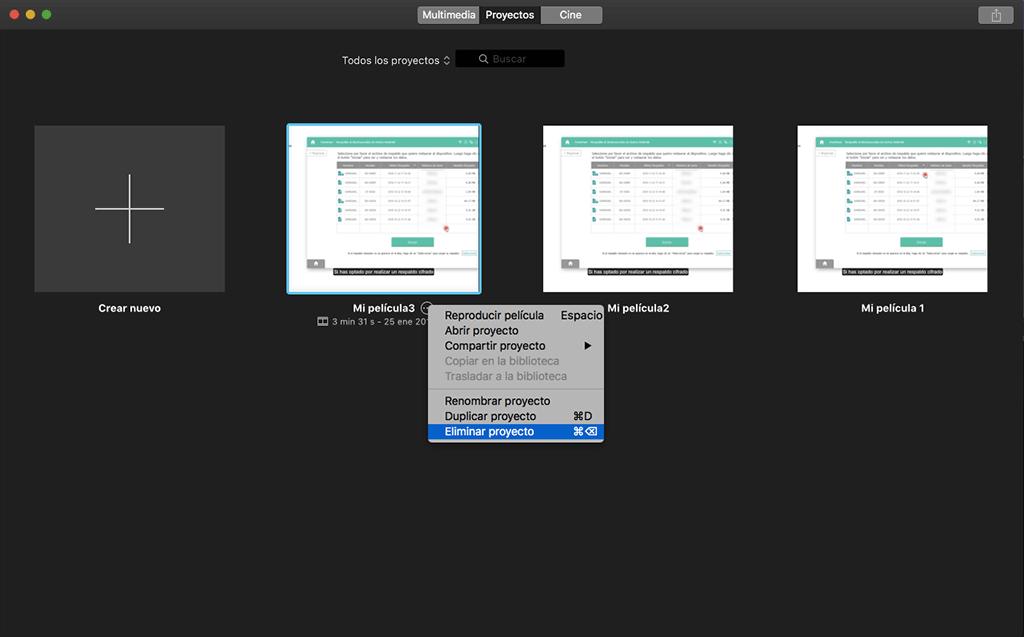 eliminar proyectos de iMovie