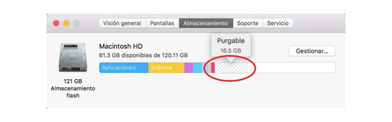 eliminar purgable de almacenamiento de Mac