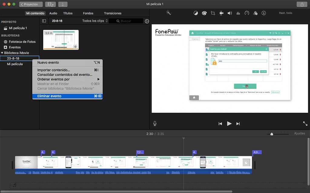 eliminar vídeo de biblioteca de iMovie