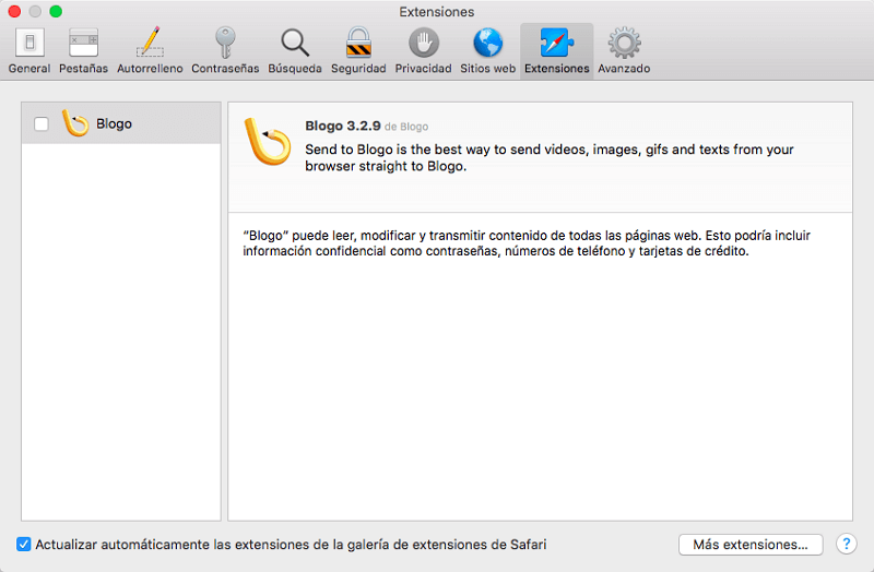 extensiones de Safari de Mac