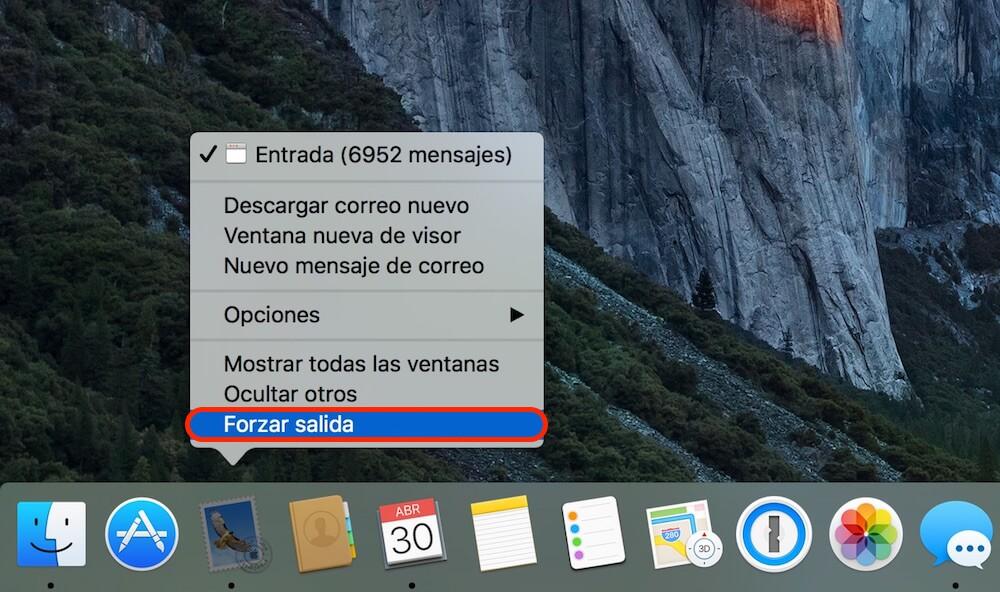 forzar salida aplicación Mac