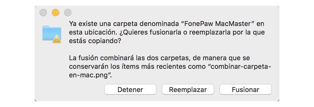 funsión de carpeta en Mac