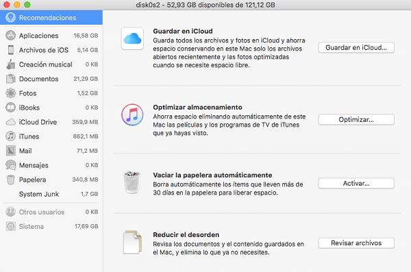 administrar el almacenamiento de Mac