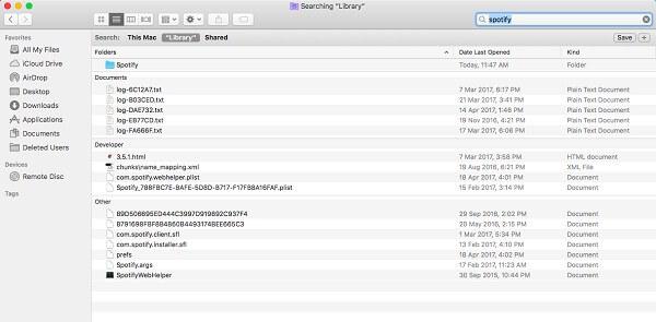 mover archivos relativos para desinstalar spotify