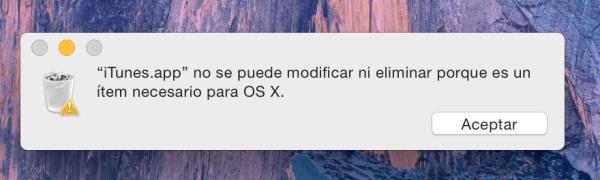 iTunes no se puede modificar ni eliminar