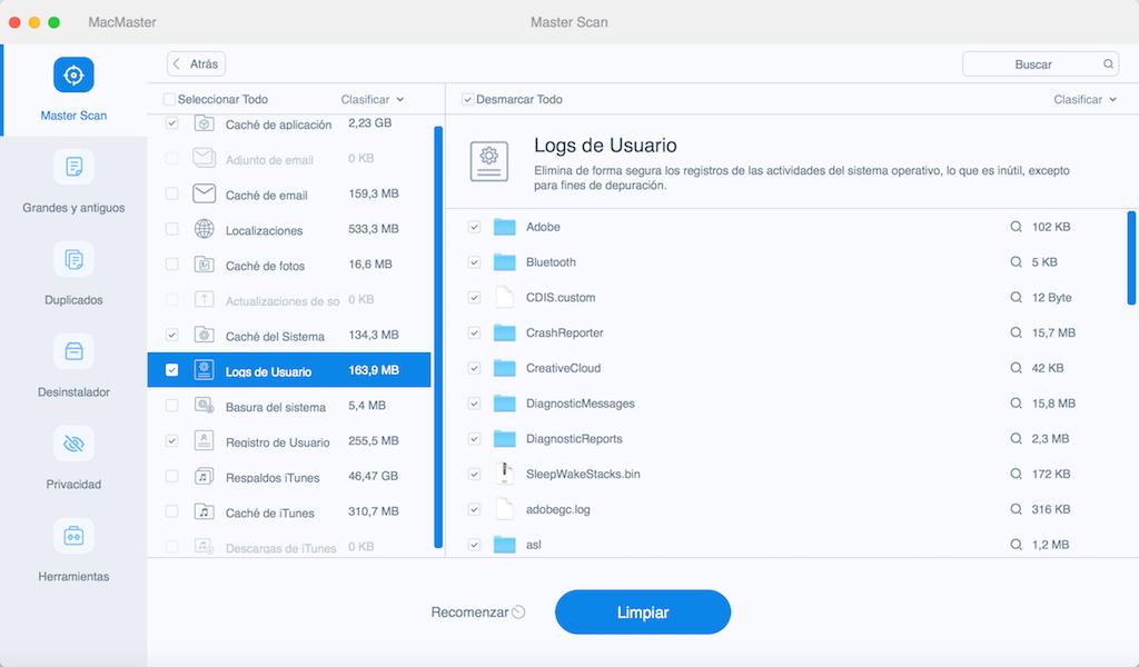limpiar archivos de registro de sistema Mac