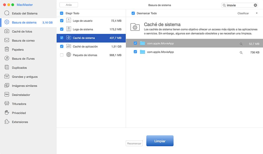 borrar caché de iMovie en Mac
