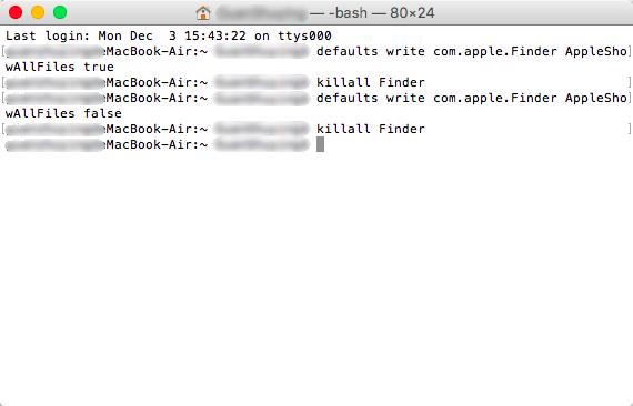 mostrar archivos ocultos con Terminal