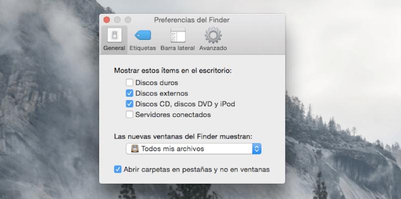 mostrar discos duros en escritorio Mac