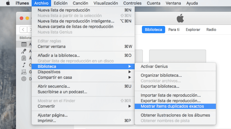 mostrar ítems duplicados exactos en iTunes