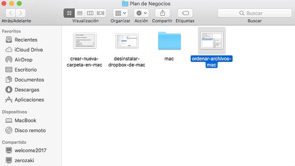 Mover los archivos dispersos a la carpeta