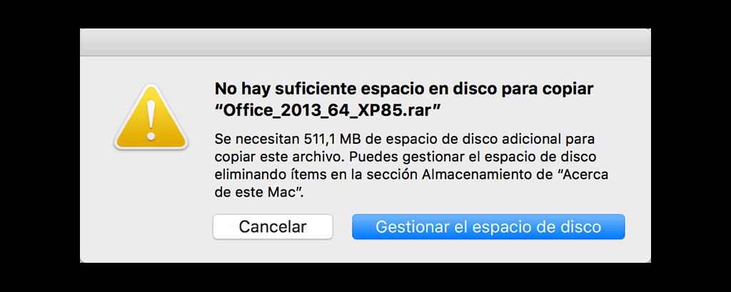 no hay suficiente espacio disponible en Mac