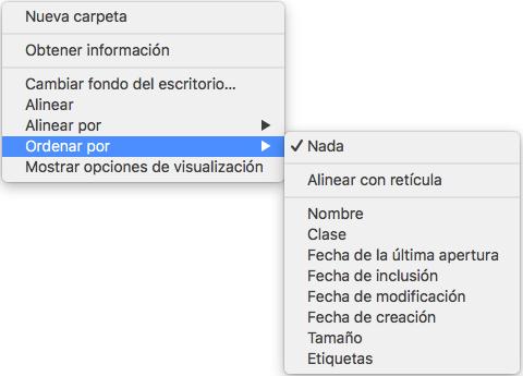 Organizar los archivos manualmente en Mac