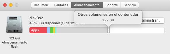 otros volúmenes en el contenedor de Mac