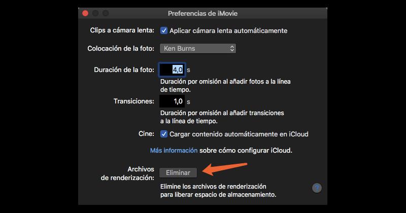 preferencias de iMovie