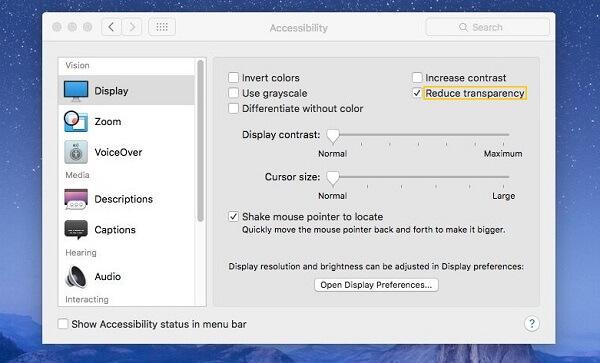 Reducir transparencia de Mac