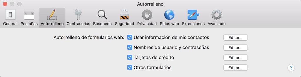 borrar autorrelleno de Safari en Mac