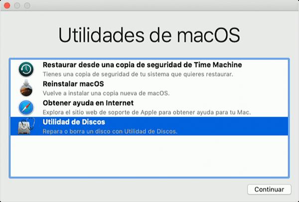 seleccionar Utilidad de Discos en Utilidades de macOS