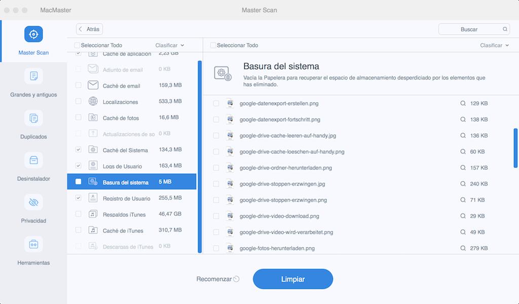 Limpiar archivos basura con FonePaw MacMaster
